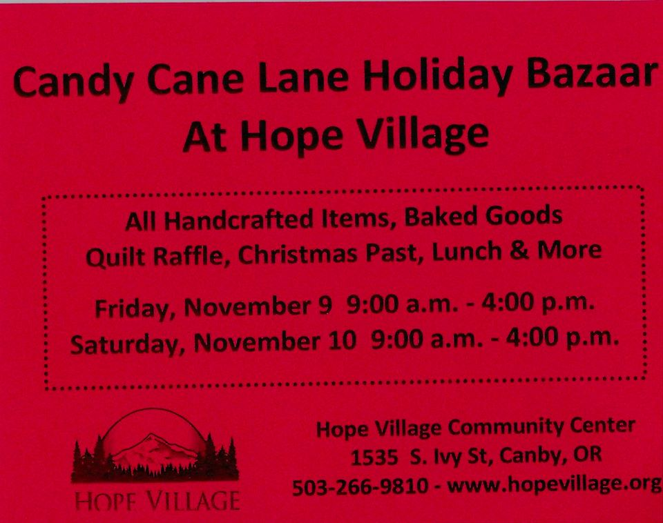 """Candy Cane Lane"" Holiday Bazaar, November 9th and 10th"